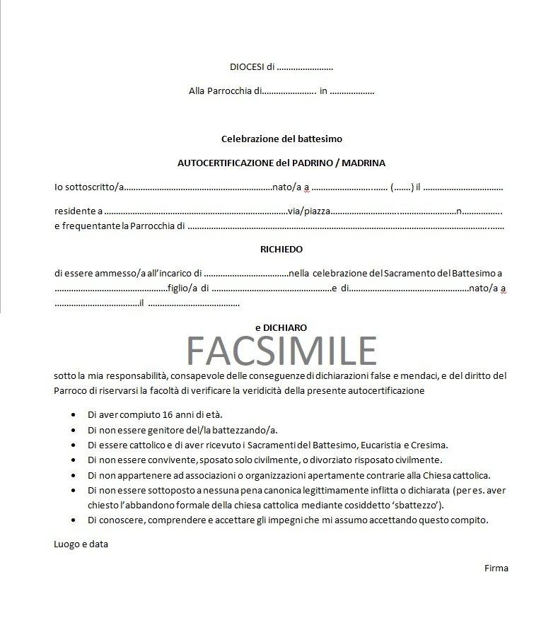 Certificato di battesimo per matrimonio e cresima cosa fare for Fac simile autocertificazione per detrazione materasso